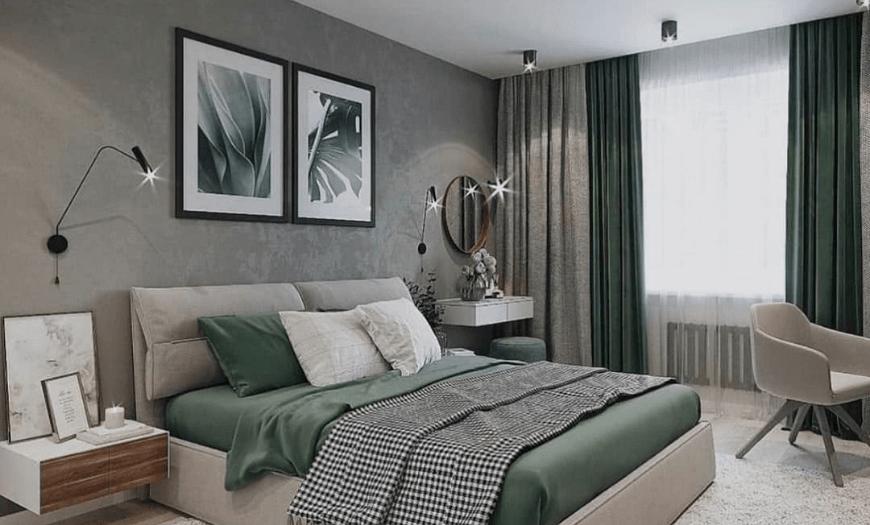болотный цвет в интерьере спальни