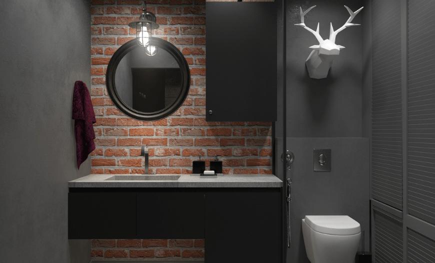 Лофт в интерьере туалета