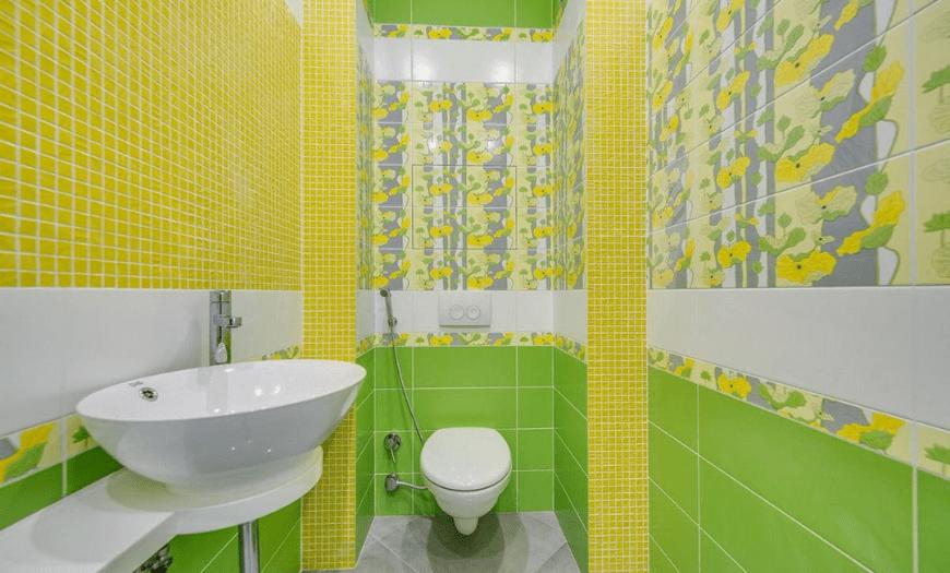 Дизайн туалета в зеленом цвете