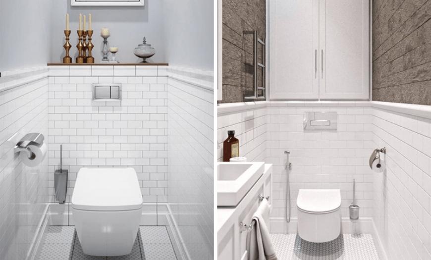 Дизайн туалета в белом цвете