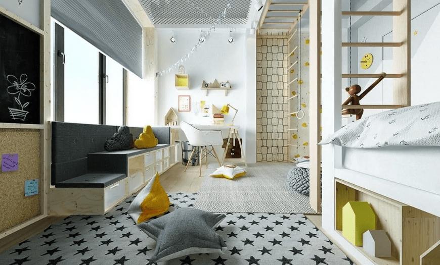 Дизайн узкой комнаты для детей