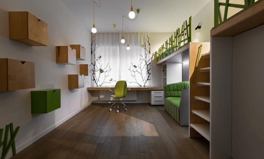 Узкая комната для детей, интерьер