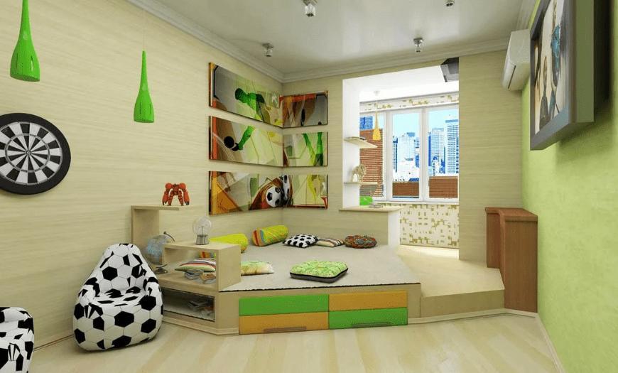 Подиум в интерьере комнаты для детей