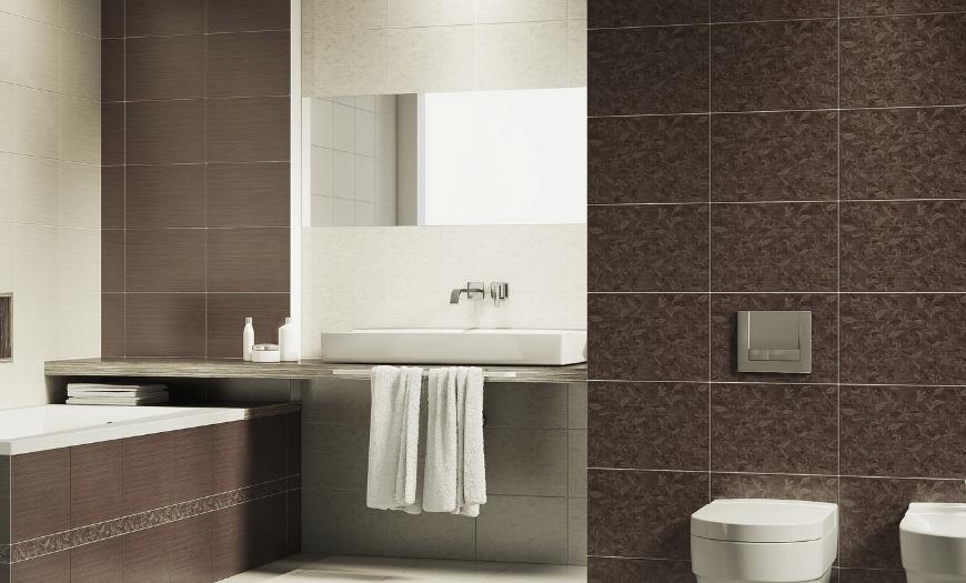 отделка ванной коричневой плиткой