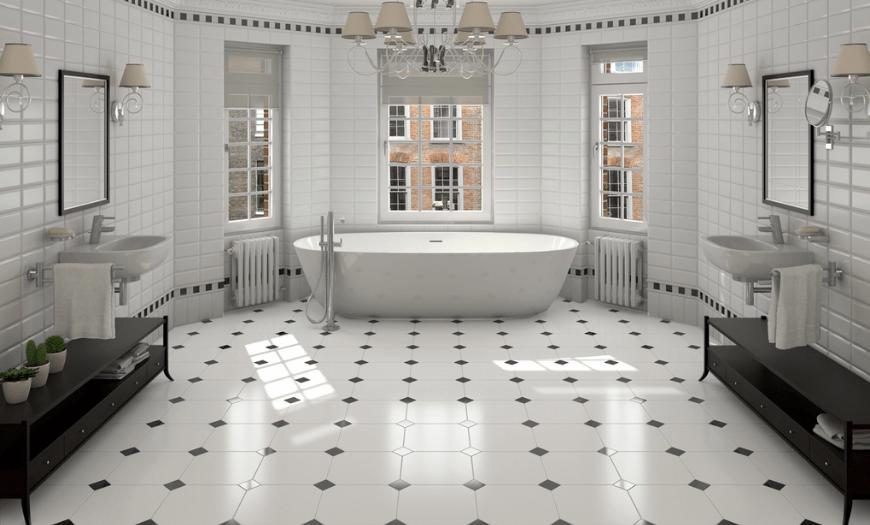 плитка на пол для ванны
