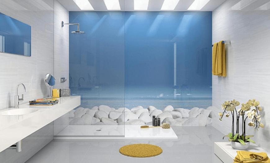 Стеклянная плитка в интерьер ванной