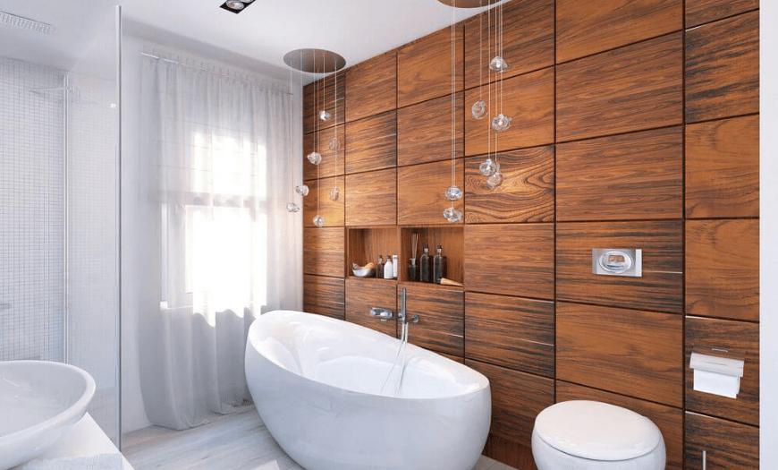 Плитка модерн в интерьере ванной комнаты