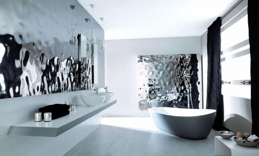 металлическая плитка в дизайне ванной комнаты
