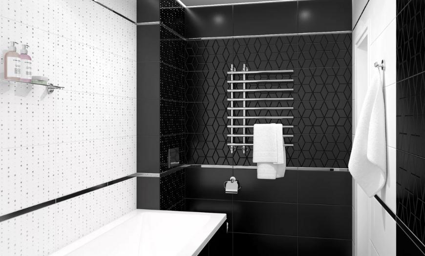 черная плитка в интерьера ванной